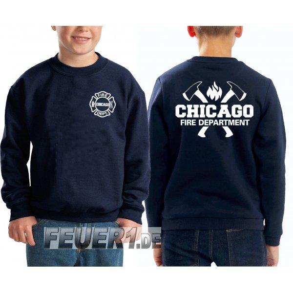 Kinder Sweatshirt Navy Chicago Fire Dept Mit Axten Und Flamme