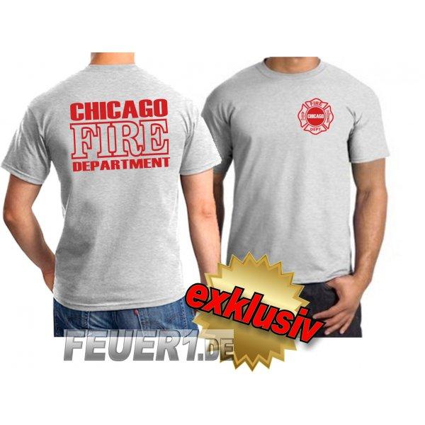 T-Shirt ash, Chicago Fire Dept., rote Schrift + Standardemblem, 25,00