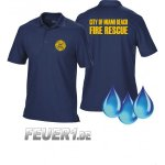 Funktions-Poloshirt navy, Miami Beach Fire Rescue, gelb