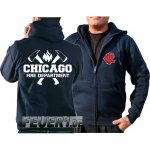 Kapuzensweatjacke navy, Chicago Fire Dept. mit Äxten...