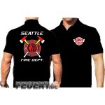 Poloshirt black, Seattle Fire Dept. - mehrfarbig -