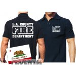 Poloshirt navy, L.A. County Fire Department in weiss