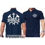 Poloshirt navy, Seattle Fire Dept. Space Needle & Axes