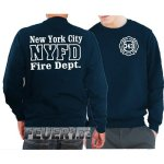 Sweat navy, New York City Fire Dept. 343 work, weiss