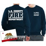 Sweathirt navy, L.A. County Fire Department in weiss