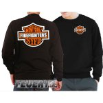 Sweatshirt black, NY Firefighters, im Motorrad-Design