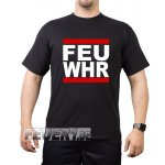 "T-Shirt black, ""FEU WHR"" (Feuerwehr) red/white/red"