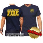 T-Shirt navy, CHICAGO FIRE DEPARTMENT, volle gelbe...