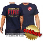 T-Shirt navy, Chicago Fire Dept., Illinois, dreifarbig...