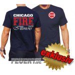 T-Shirt navy, Chicago Fire Dept., Illinois, zweifarbig