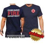 T-Shirt navy, Chicago Fire Dept. zweifarbig white-red-white