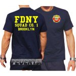 T-Shirt navy, New Yorker Feuerwehr Squad 1 Brooklyn