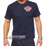 T-Shirt navy, Seattle Fire Dept. Brustdruck zweifarbig