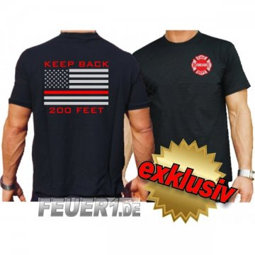T-Shirt black, Chicago Fire Dept. flag Keep Back 200 feet in silber/rot