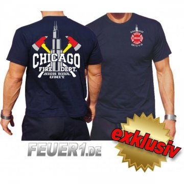 T-Shirt navy, Chicago Fire Dept. High Rise Unit/ Äxte/Willis Tower (Silver Edition)