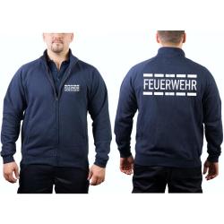Sweatjacke navy, FEUERWEHR im Polizeidesign in silber...