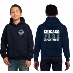 Kinder-Hoodie navy, CHICAGO FIRE DEPTARTMENT, in white