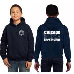 Kinder-Hoodie azul marino, CHICAGO FIRE DEPTARTMENT, en blanco
