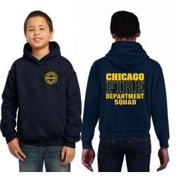 Kinder-Hoodie navy, CHICAGO FIRE DEPT.SQUAD, in yellow