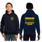 Kinder-Hoodie azul marino, CHICAGO FIRE DEPT.SQUAD, en amarillo