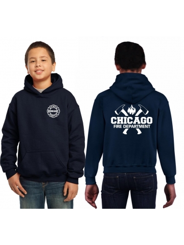 Kinder-Hoodie azul marino, CHICAGO FIRE DEPT. con ejes y Flamme en blanco