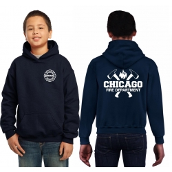 Kinder-Hoodie navy, CHICAGO FIRE DEPT. with axes and...