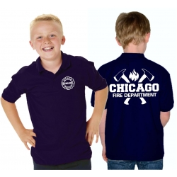 Kinder-Polo navy, CHICAGO FIRE DEPT. with axes and Flamme...