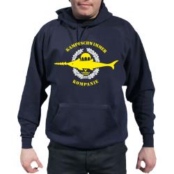 Hoodie blu navy, Kampfschwimmer Kompanie, argento-giallos...