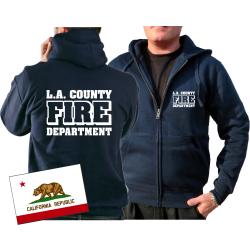 Chaqueta con capucha azul marino, Los Angeles County Fire...