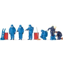 Equipment 1:87 Figuren im blauen Vollschutzanzug + Equipment