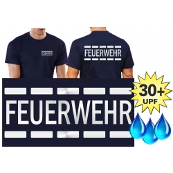 Funktions-T-Shirt navy mit 30+ UV-Schutz,  FEUERWEHR im...
