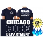 Funcional-T-Shirt azul marino con 30+ UV-proteccion, Chicago Fire Dept., blanco fuente con Standard-Emblem