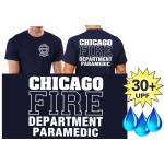 Funcional-T-Shirt azul marino con 30+ UV-proteccion, Chicago Fire Dept., PARAMEDIC, blanco fuente