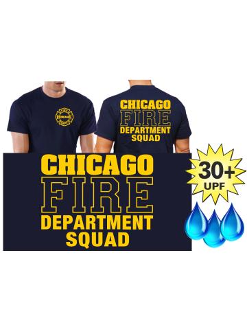 Funcional-T-Shirt azul marino con 30+ UV-proteccion, Chicago Fire Dept.-Squad, amarillo fuente con Standard-Emblem