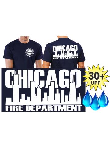 Funktions T Shirt Navy Mit 30 Uv Schutz Chicago Fire Dept Weisse