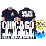Funcional-T-Shirt azul marino con 30+ UV-proteccion, Chicago Fire Dept., blanco fuente con Skyline
