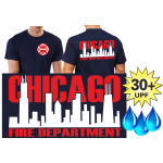 Funcional-T-Shirt azul marino con 30+ UV-proteccion, Chicago Fire Dept. con zweifarbiger Skyline (blanco/rojo)
