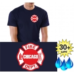 Funcional-T-Shirt azul marino con 30+ UV-proteccion, Chicago Fire Dept., Standard-Emblem auf der Brust