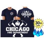 Funcional-T-Shirt azul marino con 30+ UV-proteccion, Chicago Fire Dept. con ejes y Standard-Emblem