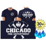 Funcional-T-Shirt azul marino con 30+ UV-proteccion, Chicago Fire Dept. con ejes y Standard-Emblem, plata Edition