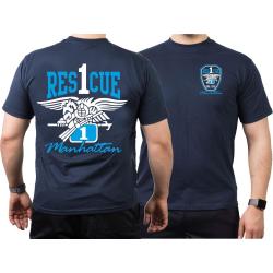 T-Shirt navy, Rescue1 Manhattan - Eagle, farbig