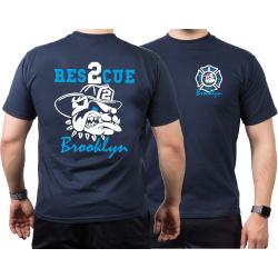 T-Shirt navy, RES-2-CUE Brooklyn, fire fighting bulldog,...