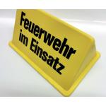 """Dachaufsetzer """"Feuerwehr im Einsatz"""" giallo/nero font"""