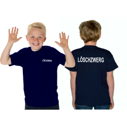 Kinder-T-Shirt marin, LÖSCHZWERG beidseitig dans blanc