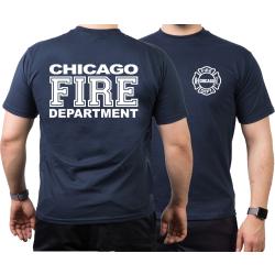 CHICAGO FIRE Dept. full white font, navy T-Shirt