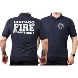 CHICAGO FIRE Dept. full white font, navy Polo