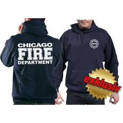 CHICAGO FIRE Dept. lleno blanco fuente, azul marino Hoodie