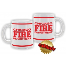 Tasse: CHICAGO FIRE DEPARTMENT, beidseitig in rot (1 Stück)