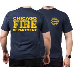 CHICAGO FIRE Dept. full dunkelyellow font, navy T-Shirt
