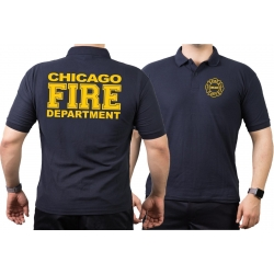 CHICAGO FIRE Dept. full yellow font, navy Polo